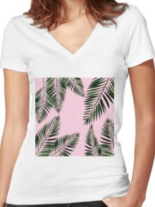 Watercolor tropical palm leaves on pink background Women's Fitted V-Neck T-Shirt