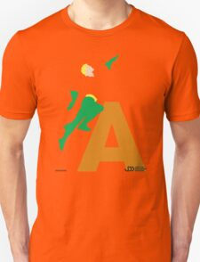 Aquaman - Superhero Minimalist Alphabet Clothing T-Shirt