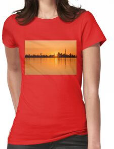 Silky Sunrise Silhouette - Torontos Skyline Over Lake Ontario Womens Fitted T-Shirt