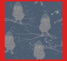 Cute baby owls in wooly hats starry sky Christmas design One Piece - Long Sleeve