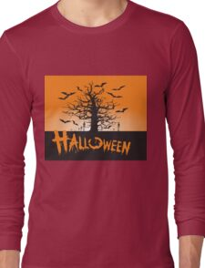 Halloween black tree crow Long Sleeve T-Shirt