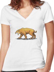 Prehistoric Pixels - Smiledon  Women's Fitted V-Neck T-Shirt