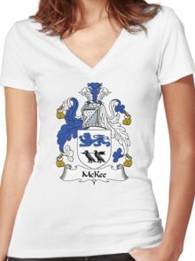 McKee Coat of Arms / McKee Family Crest Women's Fitted V-Neck T-Shirt