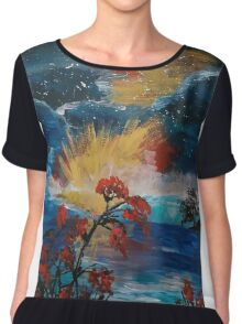 Acrylic Sea Sunset Chiffon Top