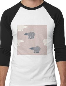 Polar bear winter design Men's Baseball ¾ T-Shirt