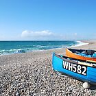 Chesil Beach Boats by Margaret Brown