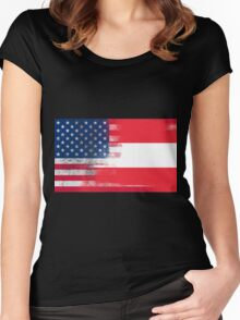 Austrian American Half Austria Half America Flag Women's Fitted Scoop T-Shirt