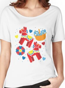 It's raining! Dalecarlian red horses horse pattern with baskets of flowers Women's Relaxed Fit T-Shirt