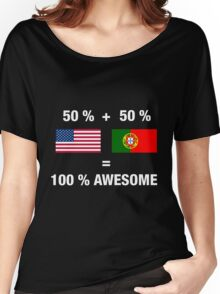 Portuguese American Half Portugal Half America Flag Women's Relaxed Fit T-Shirt