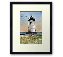 Edgartown Lighthouse - A Watercolor Pen and Wash Framed Print