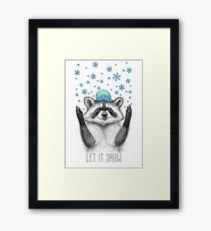 winter raccoon Framed Print
