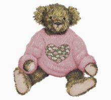 Teddy Bear with Pink Jumper One Piece - Long Sleeve