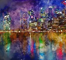 Singapore Waterfront Watercolor by TinaGraphics