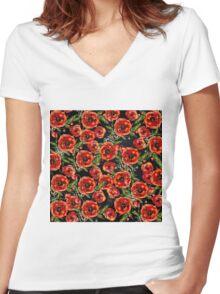 Poppy Pattern On Chalkboard Women's Fitted V-Neck T-Shirt