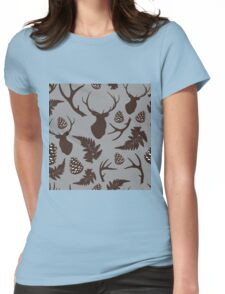 Forest pattern with deer, antler, pine cones and fern in brown Womens Fitted T-Shirt