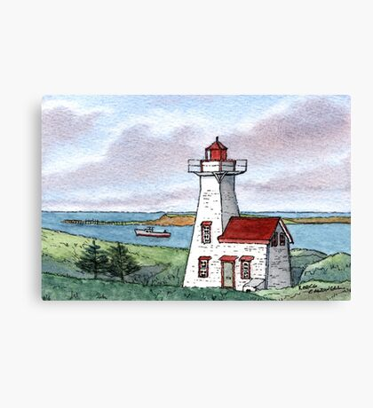 New London Lighthouse - Watercolor Pen and Wash Canvas Print