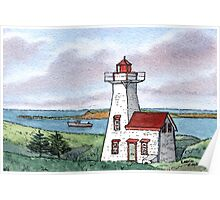 New London Lighthouse - Watercolor Pen and Wash Poster