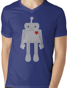 Cute Robot with Heart Mens V-Neck T-Shirt