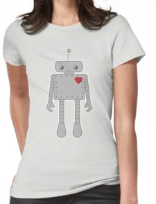 Cute Robot with Heart Womens Fitted T-Shirt