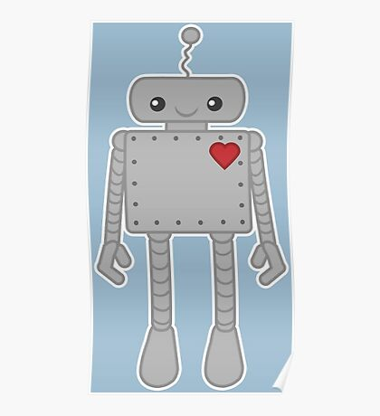 Cute Robot with Heart Poster