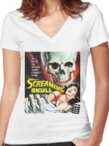The Screaming Skull vintage movie poster Women's Fitted V-Neck T-Shirt