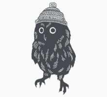 Little owl in a wooly bobble hat silhouette Christmas winter design Kids Tee