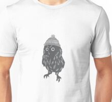 Little owl in a wooly bobble hat silhouette Christmas winter design Unisex T-Shirt