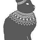 Winter hare with a warm wooly scarf silhouette Christmas winter design by Sandra O'Connor