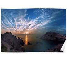 Sunset over sea Poster