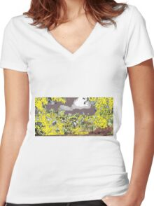 yellow on gray early sky  Women's Fitted V-Neck T-Shirt