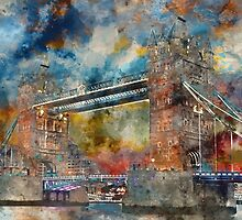 London Bridge Watercolor by TinaGraphics