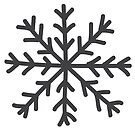 Snowflake in black Christmas winter design by Sandra O'Connor