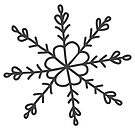 Snowflake flower Christmas winter design in grey by Sandra O'Connor