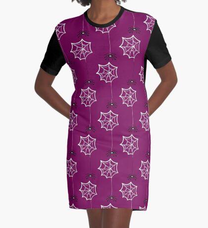 Seamless Pattern Halloween Spiderweb Graphic T-Shirt Dress