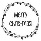 Merry Christmas wreath and stars silhouette winter design by Sandra O'Connor