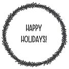 Happy holidays simple Christmas wreath silhouette in black winter design by Sandra O'Connor