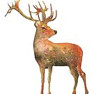 Red deer Stag watercolour winter design  by Sandra O'Connor