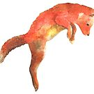 Red fox jumping, pouncing watercolour winter design  by Sandra O'Connor