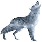 Grey Wolf howl with a starry sky fill effect watercolour winter design  by Sandra O'Connor