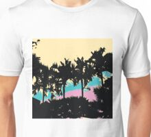 Palm Trees Modern Pink Yellow Blue Abstract Unisex T-Shirt