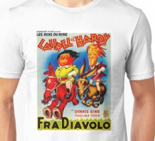 LAUREL & HARDY; Vintage Fra Diavolo Advertising Print Unisex T-Shirt