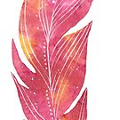 Feather in pink watercolour winter design  by Sandra O'Connor