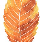 Leaf in gold and golden brown watercolour winter design, transparent background  by Sandra O'Connor