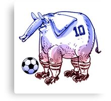 elephant the soccer player cartoon Canvas Print