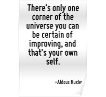 There's only one corner of the universe you can be certain of improving, and that's your own self. Poster