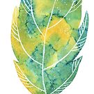 Leaf in green and blue autumn colours watercolour winter design  by Sandra O'Connor