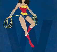 Wonder Woman - Superhero Minimalist Alphabet Print Art by justicedefender