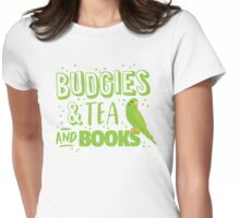 Budgies and Tea and books Womens Fitted T-Shirt