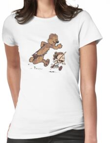 calvin and hobbes - run Womens Fitted T-Shirt