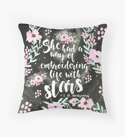 Embroidering Stars Throw Pillow